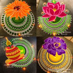 12 Latest, Easy and Simple Rangoli Designs For Diwali Rangoli Designs Peacock, Best Rangoli Design, Easy Rangoli Designs Diwali, Rangoli Designs Latest, Rangoli Simple, Simple Rangoli Designs Images, Colorful Rangoli Designs, Rangoli Colours, Free Hand Rangoli Design