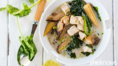 Coconut Soup with Chicken, Mushrooms, Corn and Spinach that's light and fresh enough for summer