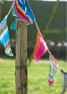 Striped Canvas Bunting    Really good quality striped canvas bunting by Deckchair stripes Ltd. Great for decorating your camp or perfect for any party occasion. All different and colours may vary. 18 flags, 17cm x 20cm 50cm ties at each end. Total length Approx 5.5 m  Price: £24.50