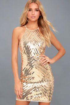 42cc0a9adb097 Ace of Spades Gold Sequin Bodycon Dress
