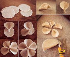 Artesanato em feltro - Flor de feltro bege - Passo 1