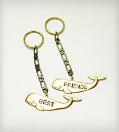 Brass Whale Best Friends Keychain - Set of 2