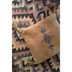Southwest Suede Cushion Cover - Brown pillow from Spell in suede with aztec print and tassels on the corners by Spell.