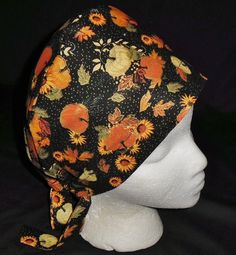 Handcrafted Ladies Surgical Scrubs Scrub Cap Pixie Hat Seasonal Medical Caps Fall Black Metallic