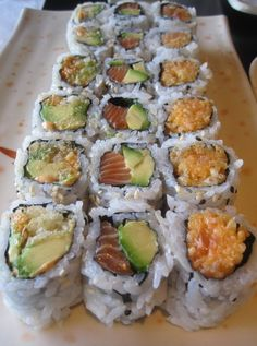 Spicy Avocado, Salmon and Avocado, and Spicy Salmon Roll at Sushi Plus in Monteral.