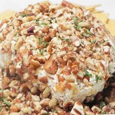 Blue Cheese Ball Allrecipes.com. Made this for a New Year's party. It makes enough for a huge ball so we made two smaller ones instead. And covered it with slivered pecans instead of walnuts. DELICIOUS! ~Slm