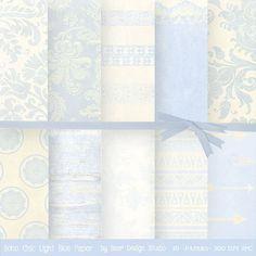 Light Blue Digital Paper for creating cards, invites and scrapbooks by BaerDesignStudio