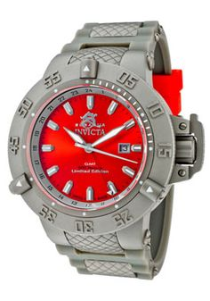 Men's Subaqua Limited Edition GMT Red Dial Grey Polyurethane & Grey IP SS