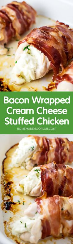 Food and Drink. Bacon Wrapped Cream Cheese Stuffed Chicken! Tender chicken breast stuffed with cream cheese and chives wrapped tightly within crispy bacon. | HomemadeHooplah.com