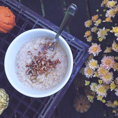 Pumpkin Spice Oatmeal with honey and pecans.