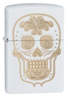 28792-000003-Z A simple take on a sugar skull design, this image combines laser and auto engraving on a matte background, a combination never previously released. Comes packaged in an environmentally friendly gift box. For optimal performance, use with Zippo premium lighter fluid.