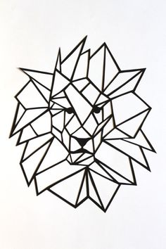 "Original Simple Lion Papercut Wall Art: 6.75x8"" basic geometric original lion head and mane, black cut out, 2D triangular modern design by PrairieAndPine on Etsy https://www.etsy.com/au/listing/455837256/original-simple-lion-papercut-wall-art"