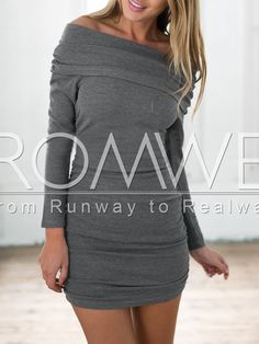 Grey Long Sleeve Off The Shoulder Ruched Bodycon Dress 13.99