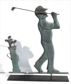 1920's-30's American graphic full body form copper golfer in mid swing weathervane.