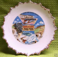 Summit Pikes Peak Colorado Souvenir Plate - Vintage