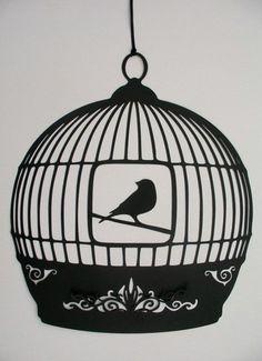 elegant black paper birdcage would look nice painted on rock