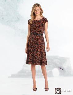 Anne Klein Women's Cap Sleeve Leopard Print Dress