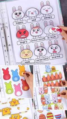 Count with the bunnies and play with the chicks with our fun interactive printable Easter quiet book. activities free Printable Easter Quiet Book - Activity Book for Pre-K and K - Easy Peasy and Fun Kindergarten Learning, Preschool Learning Activities, Infant Activities, Preschool Activities, Activities For Kids, Educational Activities, Teaching Kids, Kindergarten Addition, Early Childhood Activities