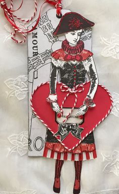 Valentine, Paper Doll,Mixed Media, Paris, Art Tag, Character Constructions, Amour