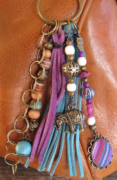 Boho Purse Charm, Charm Tassel, Zipper Pull, Key Chain - Indian Elephant - #ThePaintedCabeza