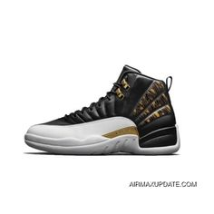 90fe6cf35586e9 Best Mens Air Jordan 12 Retro Wings Basketball Shoes Black Metallic  Gold White 848692