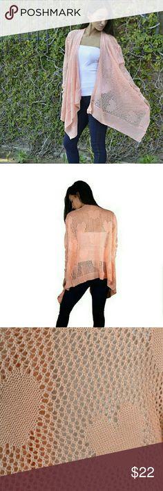 🆕Heart-Imprinted Shrug Peach asymmetrical crochet shrug;  ALL of my proceeds go to my son who is sick. Haia Tops