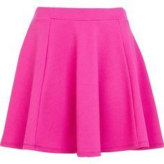 River Island Bright pink textured skater skirt (295 UYU) ❤ liked on Polyvore featuring skirts, mini skirts, bottoms, saias, faldas, sale, elastic waist skirt, pink skirt, circle skirts and textured skirt