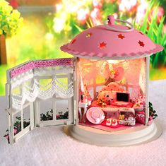 DIY Lantern Pink Dollhouse Miniature Handcraft Kit by UniTime