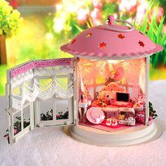 DIY Lantern Pink Dollhouse Miniature Handcraft Kit by UniTime