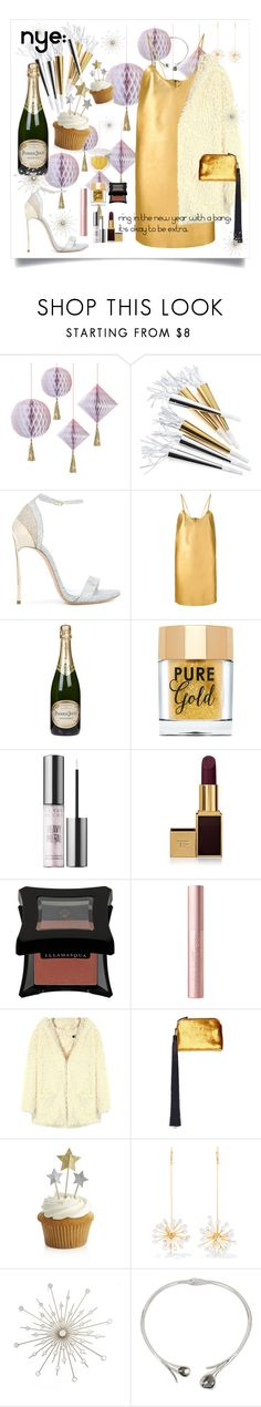 """""""NYE: Liquid Metals"""" by maggiesinthemoon on Polyvore featuring Crate and Barrel, Casadei, Manokhi, Perrier-Jouët, Too Faced Cosmetics, Urban Decay, Tom Ford, Illamasqua, The Row and E L L E R Y"""
