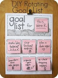 Good idea, heres what she says: A DIY Rotating Goals List. made mine by cutting up squares of card stock paper with chores wrote on them. Since do the same chores over and over, I figured there was no sense in wasting money on buying post-it notes. Have picture frame with ribbon across the middle of it and the notes hang on the ribbon with binder clips.