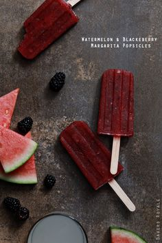Watermelon and Blackberry Margarita Popsicle / Bakers Royale #recipe