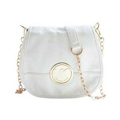 Michael Kors Fulton Pebbled Logo Large White Crossbody Bags Outlet - $74.99
