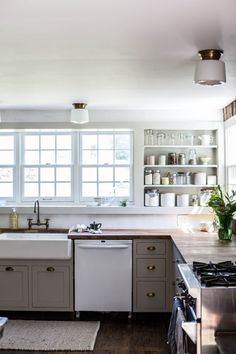 Kitchen of an 18th-century Catskills farmhouse remodeled by Jersey Ice Cream Co. | Remodelista