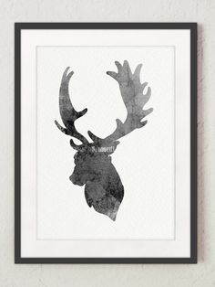 Deer Picture Gray Deer Illustration Antlers Wall by Silhouetown