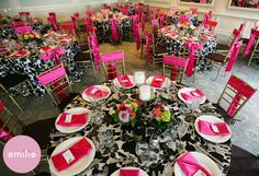 Hot Pink and Damask reception decor