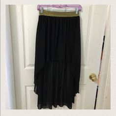 Black and gold Inska hi-low skirt Gold glitter band with sheer black mesh in hi-low fashion, shorts underneath for better flexibility. Size large but easily can be worn by size medium or small (runs small) Inska Skirts High Low