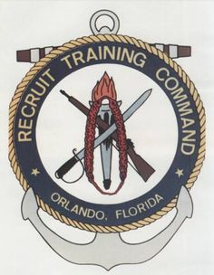 Emblem of Recruit Training Command (RTC) Orlando, FL the US Navys only co-ed boot camp. Today, all male and female recruits are trained at RTC Great Lakes, IL.but back when I went in it was Orlando. Military Ranks, Navy Military, Military Life, Navy Day, Go Navy, Us Navy Recruiting, Us Navy Uniforms, Badges, Navy Tattoos