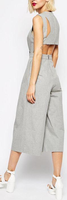 cropped wide leg open back jumpsuit