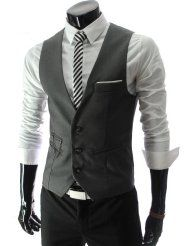 Grey - Suits & Sport Coats / Men: Clothing & Accessories.    Menswear, mens fashion, sartorial man, button down shirt, dress shirt, pocket square, tie, vest