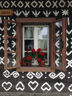Traditional Slovak folk ornaments on houses in village called Čičmany, (Žilina district, Slovakia) German name: Zimmermannhau. It is known as the first folk architecture reserve in the world. Folk, Like4like, Traditional, Ornaments, Architecture, German, Houses, Furniture, Beautiful