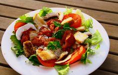 Salade de gésiers et de magrets de canard aux poivrons grillés