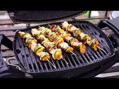 Chicken kebabs on the Weber Q