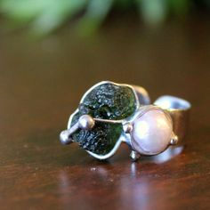 TIANA II - Dual Stone Soldered Metal Ring with Genuine Czech Raw Moldavite and river Pearl by AtelierQ on Etsy