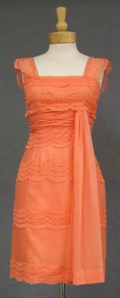 Vintage Coral Chiffon & Lace Dress. Love the color and the style!
