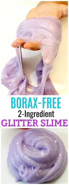 Learn to make glitter slime with only 2 ingredients! This glitter glue slime recipe only requires 2 simple ingredients to make the perfect slime recipe.