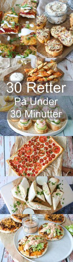 30 lækre retter på 30 minutter eller under 30 minutter. Dette indlæg indeholder 11 lækre forretter/snakcs, 16 skønne frokost/aftensmadsretter og 3 desserter, som alle kan laves på 30 minutter eller under. #Aftensmad #Opskrift #Frokost #Hjemmelavet #30minutter New Recipes, Snack Recipes, Snacks, Dessert Recipes, Healthy Recipes, Learn To Cook, Cheddar, Easy Meals, Food Porn