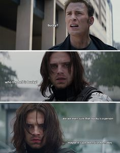 """Hahahaha!! """"Maybe it's just the noise he makes."""" Hahaha! XD Yes, Winter Soldier. """"Bucky"""" is just the noise Steve makes. XP"""