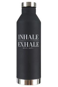 Inhale Exhale Water Bottle Black | Spiritual Gangster Yoga Clothing