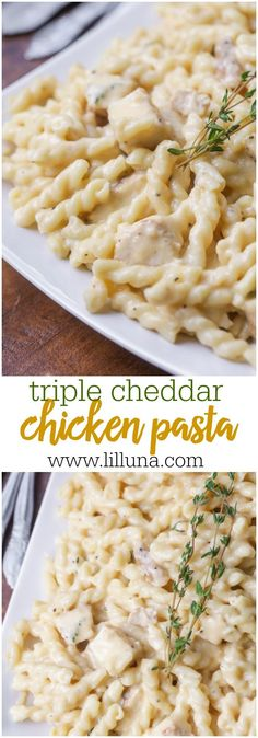 Triple Cheddar Chicken Pasta - this creamy, cheesy pasta dish is simple and will be a hit with the entire family!